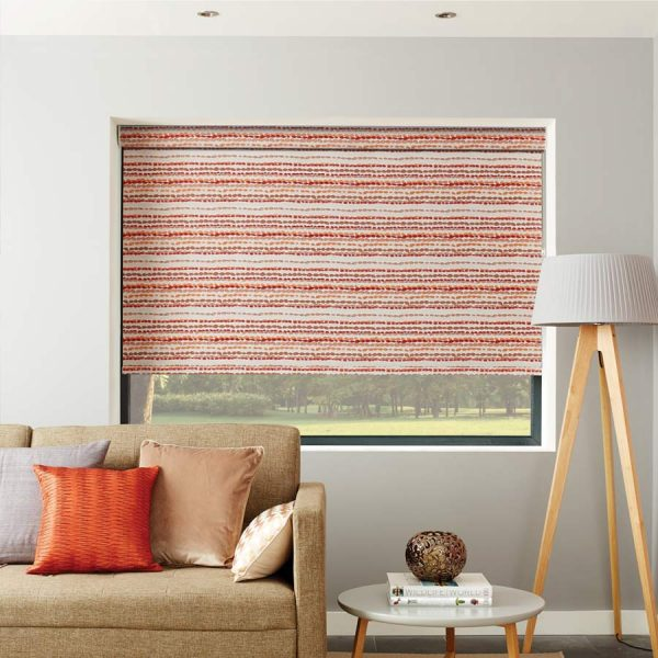 Cobbles Apricot Red Roller Blind 1