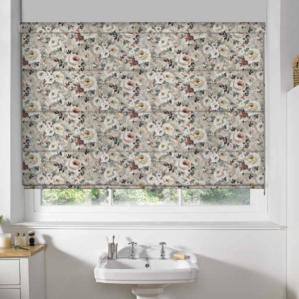Floral Taupe Roman Blind 1