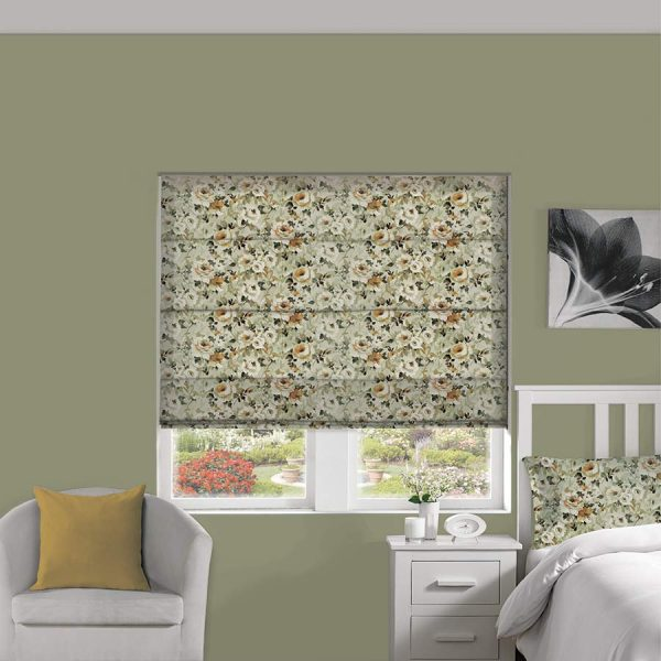 Floral Papaya Roman Blind 1